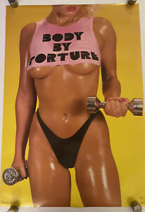 Body By Torture Poster 22x32 Man Cave Hot Girl Garage Workout Gym 80s Vintage