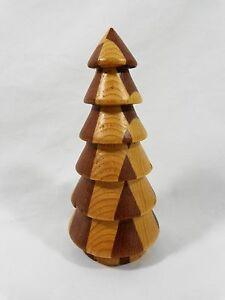 "WOOD TREE FIGURINE 5"" Two Tone Brown Checker Pattern on Bottom Unique Design"