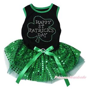 Happy St Patrick Clover Black Top Green Sequins Gauze Skirt Pet Dog Puppy Dress