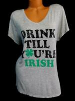 Maurices grey v neck Drink till you're irish plus size spandex top XL