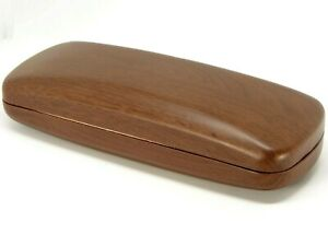 NEW Hard Clam Shell Wood Look Eyeglasses Glasses Brown Case C8 Size: 158x58x38mm