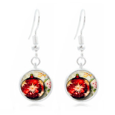 Christmas Ball Tibet Silver Dome Photo 16MM Glass Cabochon Long Earrings #75