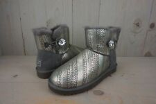 UGG MINI BAILEY BUTTON BLING SILVER AND CRYSTAL METALLIC  WOMENS BOOTS US 10 NIB
