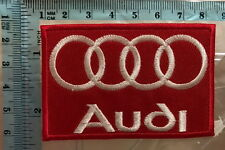 MOTORSPORTS MOTOR RACING SEW ON / IRON ON PATCH AUDI (g) RED ROUNDED RINGS  n-73