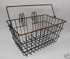 Wire Mesh Bicycle Basket Front Handlebar Mount Black Handle Carrier Bike 1157