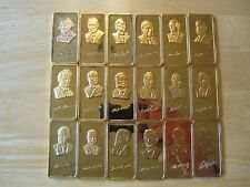 SILVER BAR LOT: (18) 1 ounce Silver 24k Gold plated U.S. Presidential Art Bars,