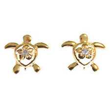 14K Gold Hawaiian Honu Sea Turtle Earring with Diamond.