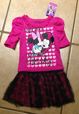 NWT Disney Minnie Mouse Tulle Tutu Heart Skirt +Top Mickey Size 5 Birthday Gift