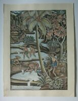 Vintage Indonesian Bali Watercolor & Ink Batuan Art, Planting rice, Unsigned