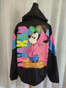 Disney Mickey Mouse HIP HOP 90's Style Vintage Neon Windbreaker Light Jacket M