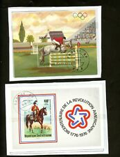 LOT 80859 USED C144 AND C291  CENTRAL AFRICA SOUVENIR SHEET HORSES