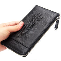 Crocodile Long Wallet for Men Women Genuine Leather Purse Card Holder Clutch Bag
