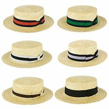 Mens Ladies Summer Handmade In Italy Classic Sailor Skimmer Straw Boater Sun Hat