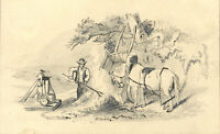 Small Late 19th Century Graphite Drawing - Working Man & Horse