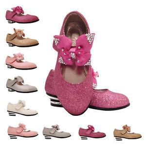 Girls Children Kids Bow Wedding Bridesmaid Low Heels Glitter Party Shoe Size