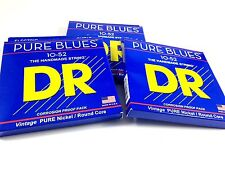 DR Guitar Strings Electric Pure Blues 3 Pack Vintage Pure Nickel 10-52