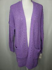 Style&co. Open Front Long Sleeve Chenille Sweater Lilac Kiss XXL # 38