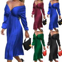 Women Off Shoulder Long Sleeve Midi Dress V Neck Party Cocktail Dresses Clubwear