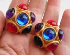 Boucles d`Oreilles Clip Doré Gros Puces Multicolore Bleu Rouge Violet Bonbon J9