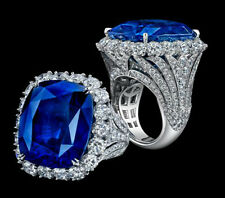 Cushion Halo Cocktail Party Women Ring 925 Sterling Silver Cz White Round Blue