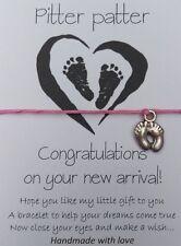 Handmade New Baby Little Feet Wish String Friendship Bracelet Card Gift