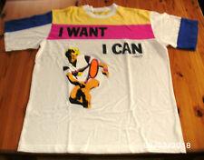 "Adidas T-Shirt ""J want J can"" Kühnen, klassik Vintage, Gr. 6 = M, Sammlerstück"