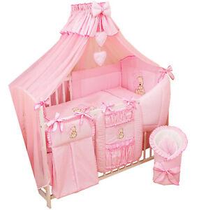 16 Tlg. Bettwäsche Nestchen Babybettwäsche Bettset Bärchen mit Herz ROSA