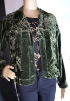 Chico's size 1 green crushed velvet jacket