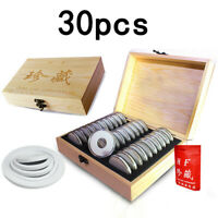 Wood Coins Display Storage Box Collectible Case For Certified Coin 30 Capsules