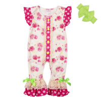 NEW Boutique Baby Girls Pink Floral Ruffle Romper Jumpsuit Headband Outfit Set