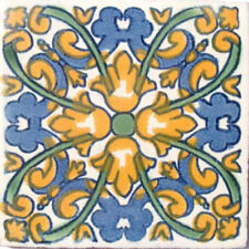 #C033) Mexican Tile sample Ceramic Handmade 4x4 inch, GET MANY AS YOU NEED !!