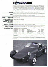 Car Craft Cyclone Vauxhall Based Kit Car original Sales Brochure