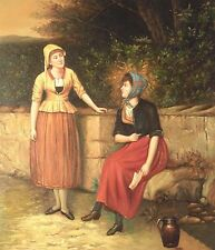 "* 24""x20"" Oil Painting on Canvas, Two Young Ladies"