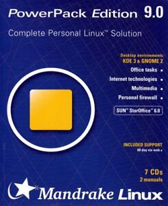 Mandrake Powerpack 9.0 (Complete Personal Linux Solution) 7 CD's 2 Manuals