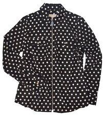 Michael Kors Women's Long-Sleeve Flap Pocket Zip-Front Work Shirt Top (Small,...