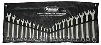 Kamasa 22 Piece Combination Spanner Wrench Set 22 Pce 6mm - 19mm & Imperial