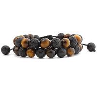Natural Tiger's Eye Lava Round Bead Men Women Lucky Energy Charm Bracelet Bangle