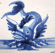 "Pair Antique 18th Century Dutch Delft Tiles DOLPHIN FISH SEA SERPENTS 5"" Square"