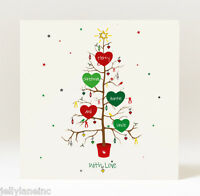 Hand Designed Personalised Christmas Tree Family Christmas Card -Select Relation