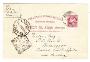 Norway Postal Card KRISTIANIA 12/31/01-TO BULAWAYO RHODESIA VIA CAPETOWN