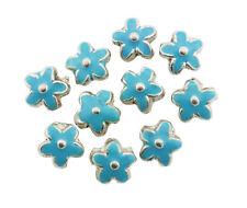 Silver Metal Flower Bead Enamelled Turquoise 15mm Pack of 10 (D13/2)