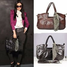 Women Lady Handbag Leather Tote Bags Purse With Leopard Scarf