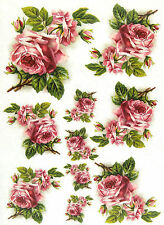 Rice Paper for Decoupage Scrapbooking Sheet Craft Vintage Pink Roses