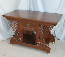 Antique Oak Library Table or Small Desk