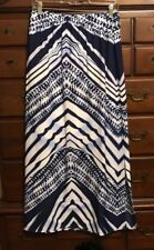 Chico's Blue & White Wavy Chevron Stripe Lined Maxi Skirt Size 0 (4/6) NWT