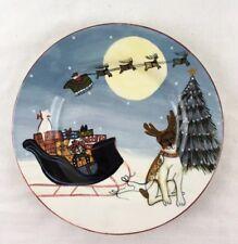"David Carter Brown Merry Little Christmas 8"" Plate Santa Sleigh Cat Dog Reindeer"