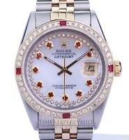 Rolex Mens Datejust 16013 White MOP Diamond/Ruby  Dial Diamond Bezel 36mm Watch