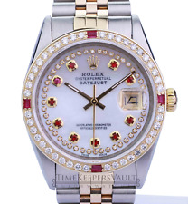 Rolex Mens Datejust 16013 White MOP Diamond/Ruby  Dial Diamond Bezel 36mm Watch