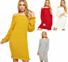Knitted Solid Short Sleeve Dresses for Women