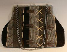 Brown Boho Bag Patchwork Wool Embroidery Handbag Lined Silver Chain nwots